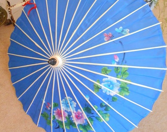 Beautiful 1940's-50's Blue Painted Umbrella/Parasoll