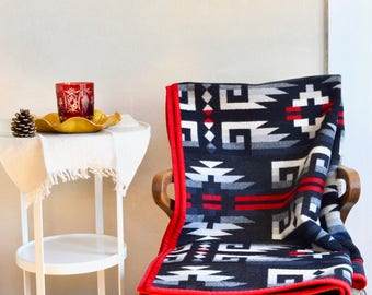 Wool Blanket Native American Inspired Design Black Red Gray White Couch Throw