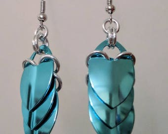 Dragon Scale Drape Earrings - Sky Blue
