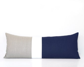 Navy Blue Colorblock Pillow Cover, Bedding, 14x35 Lumbar Pillow, Decorative Pillows by JillianReneDecor, Extra Long Color Block, Nautical