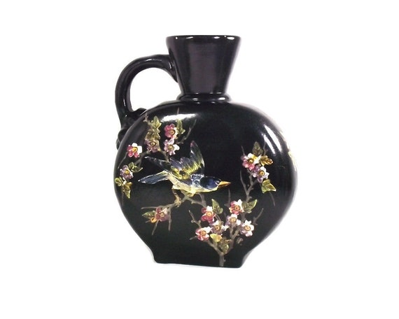 Large English Black Flask Vase with Birds and Flowers