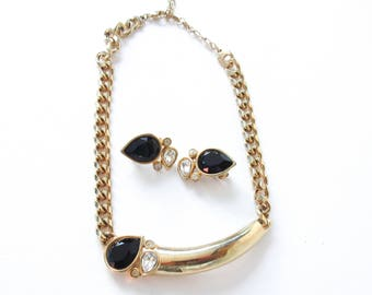 Piscitelli Jewelry Set Gold Tone Black and Clear Rhinestone Necklace and Clip On Earrings