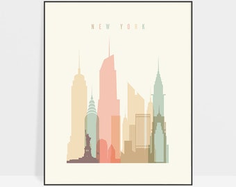 New York art, New York skyline, New York print, New York wall art, New York poster, gift decor, ArtPrintsVicky