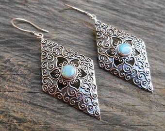 Sterling Silver Opal dangle earrings / silver 925 / Balinese handmade jewelry / 2 inch long