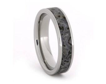 Titanium Ring with Dinosaur Bone inlay, Unique Fossil Band