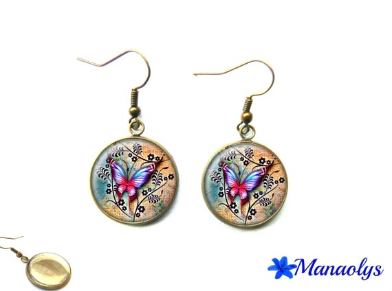Butterflies, vintage, retro, 1481 glass cabochons earrings