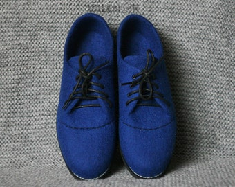 Men handmade boots, Outdoor felted shoes with rubber soles, Felted wool shoes blue, Organic eco fashion men shoes Woolen shoes, felted boots