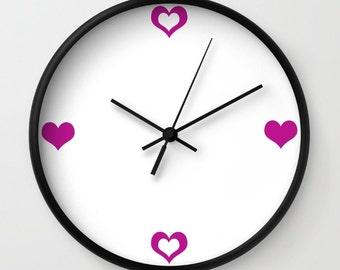 Heart Clock - Wall Clock - Magenta Purple Clock - Love Clock - Made to Order