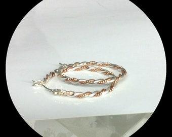 Aglaé - Hoops dormeuse creoles earrings sterling silver 14 Karats pink rose gold filled 25mm artisan designer
