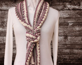 Purple Scarf, Purple and White Crocheted Scarf, Unique Crocheted Scarf, Purple Scarves with Fringe, Women's Accessories, Gift for Her