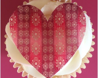 Valentine Heart Toppers, Edible Cupcake Decoration, Patterned Heart Topper, Wafer Paper, Set of 12 or 24
