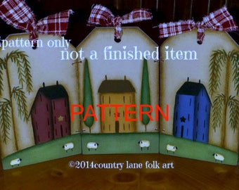 Tole painting epattern, Prim tag triptych, painting patterns, decorative painting pattern, primitive pattern, Saltbox House pattern, sheep