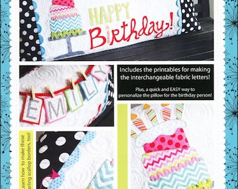 "Pattern - ""Happy Birthday"" Bench Pillow Paper Sewing Pattern / Instruction Booklet by KimberBell (KID186)"