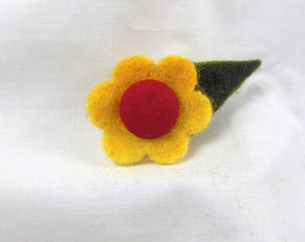 Bright Yellow Felted Lapel Pin Flower Brooch