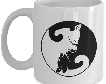 Yin Yang Cat Mug - Black and White Cats coffee cup