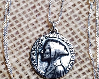 Sterling Silver St Benedict Necklace, Catholic Jewelry, Christian Jewelry