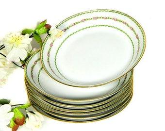 Seven Charles Field Haviland GDA Limoges France Soup Bowls Floral and Leaf Bands