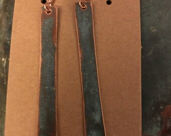 Handmade copper earrings.