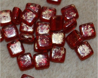 CZECH TILE Beads, 2 Hole, 6mm, Gold Marbled Ruby, GM9010, sold in units of 2 strings, approx 50 beads.