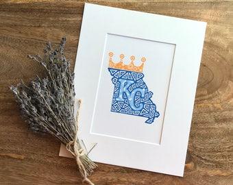 Kansas City Royals Zentangle Print, KC Royals, Baseball, Zentangle, Missouri, MLB, Art Print