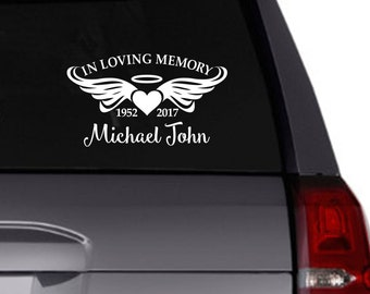 In Loving Memory vinyl car decal/Personalized decal/memorium/angel wings/heart/halo/dates/personalize