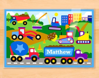 Placemat, Kids, Construction, Laminated Placemat, Dump Truck, Personalized, Kids Placemat, Construction Birthday Party, Birthday Gift