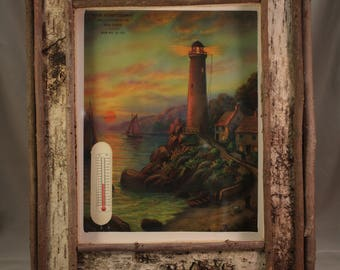 Vintage lithograph in Twig Frame - Rustic Scene - Lighthouse, cabin decor, father's day