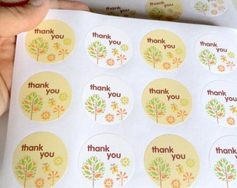 24 colored thank you sticker - thank you label - favor sticker - wedding round thank you sticker - wedding favors - envelope seals - circle