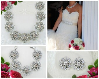 Wedding Jewelry Set for brides silver Bridal jewelry set crystal vintage style wedding necklace bridal bracelet matching necklace earrings