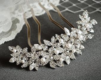 Bridal Hair Comb, Crystal Rhinestone Flower Wedding Hair Accessories, Swarovski Pearl Wedding Hair Comb, Old Hollywood Style, BEDELIA,