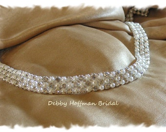 Pearl Crystal Wedding Sash, Thin Rhinestone Pearl Bridal Sash, Pearl Bridal Belt, Crystal Pearl Sash, Pearl Bridesmaid Belt, No. 4090S, SALE