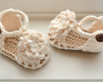 Baby Sandals, Crochet Baby Girl Sandals, Cream Flower Sandals, Simply Summer Sandals, Gift