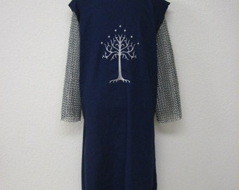 Medieval Knights Surcoat Tabard Tunic with Embroidered White Tree Crest,  Available in black or navy blue, Renaissance garb,  Fantasy,