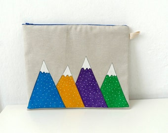 Geometric  Mountains Clutch, Ipad Sleeve, Gadget case /women accessory