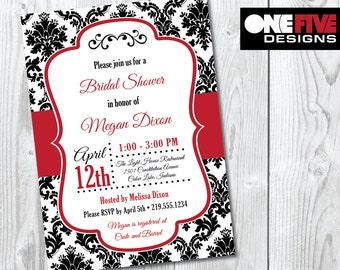 Damask Bridal Shower Invitation - Printable (5x7)