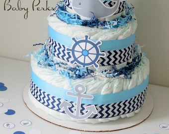 Nautical Baby Shower Centerpieces, Nautical Diaper Cake, Sailor Diaper Cakes, Ahoy It's A Boy Baby Shower Decorations