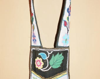 Antique Native American Beaded Bandolier Bag early 1900's Great Lakes