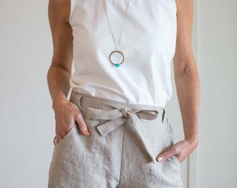 Natalie Linen Shorts, Womens Linen Shorts, Pockets, Belt, Custom, High-Waisted Shorts, Grey Shorts, Navy Shorts, Black Linen Shorts