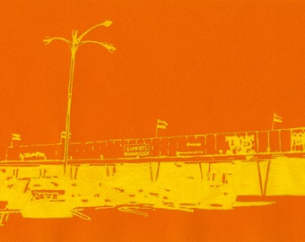 """Greetings from Tampa - Strip Mall - Drawing 6""""x9"""""""