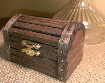 beach wedding ring box, nautical wedding wooden ring box, personalized treasure chest