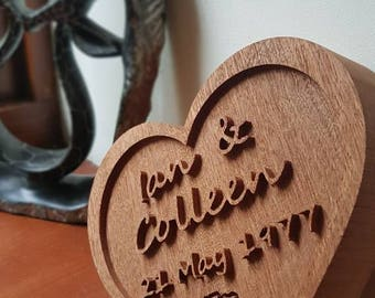 Personalised solid wood carved heart gift.  Perfect as a wedding, anniversary, Valentine's Day or housewarming gift