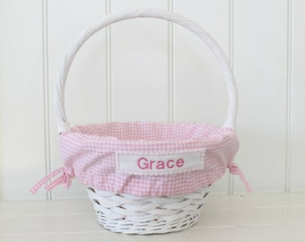 Small Easter Basket Liner -- Pink Gingham -- Free Monogram --