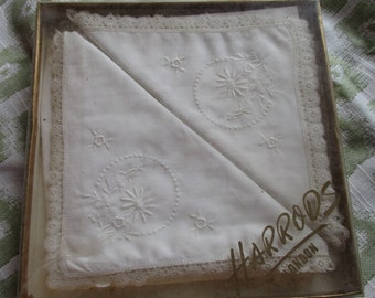 Handkerchiefs, white cotton, lace edging, with delicate embroidery, from Harrods in 1940's
