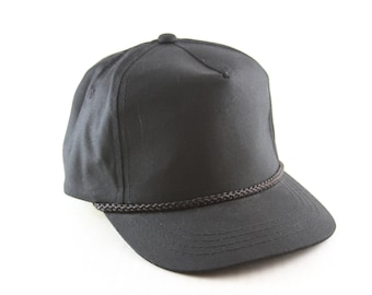 Vintage Plain Black Trucker Style Hat    Adjustable Snapback Classic  Baseball Cap with Rope Detail b15b88f26fdd