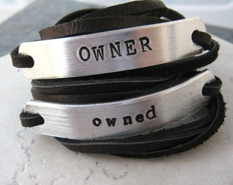 OWNER and Owned Bracelets, Set of 2 Leather Wrap Bracelets, choose leather, text, symbols, font, see charts, BDSM couple, Master and slave