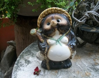 Japanese  Shigaraki Classic Male Tanuki Good Luck Raccoon Dog Porcelain Figure