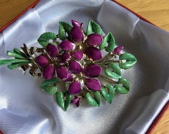 Exquisite Vintage 1950s/60s Enamel Violets Birthday Brooch for March Birthdays