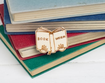 Book Worm Wooden Brooch, Sustainable Laser Cut Pin