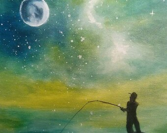 Fishing in the Galaxy Oil on Canvas Panel