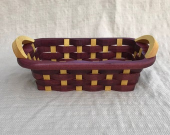 wooden candy basket with handles